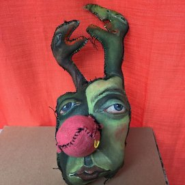 "Trophy Head#62, 2016, painted rag doll, approximately 16"" tall"